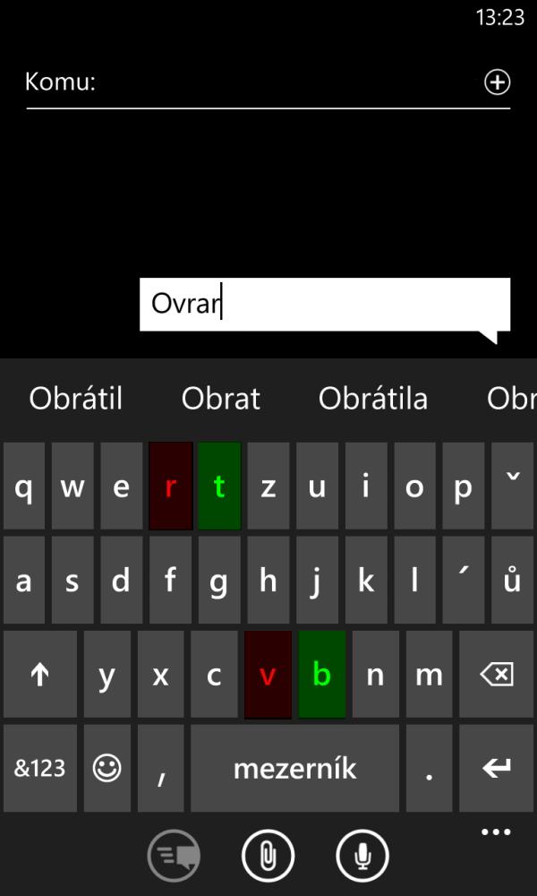 Windows Phone 8 klávesnice